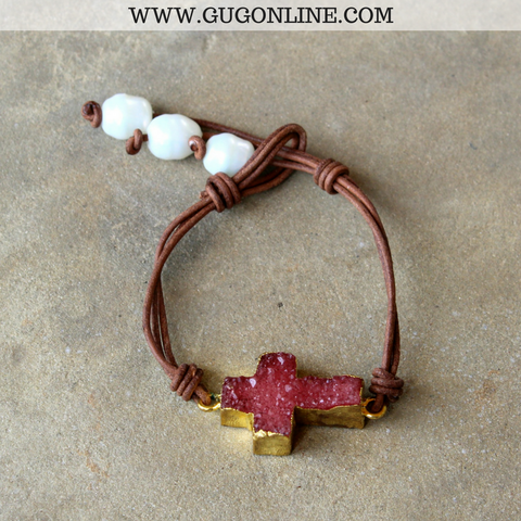 Maroon Druzy Cross Leather Bracelet with Pearl Accents