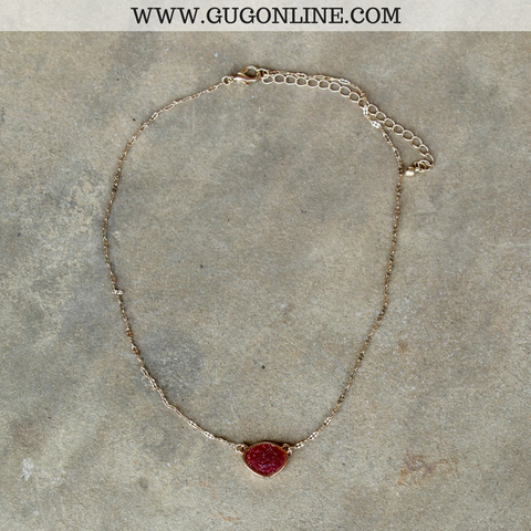 Short Gold Necklace with Maroon Druzy Stone