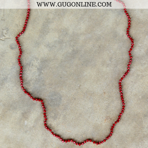 32 Inch Long Layering Mini Crystal Strand Necklace in Dark Red