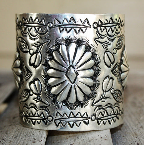 Aztec Sun Wide Cuff in Silver