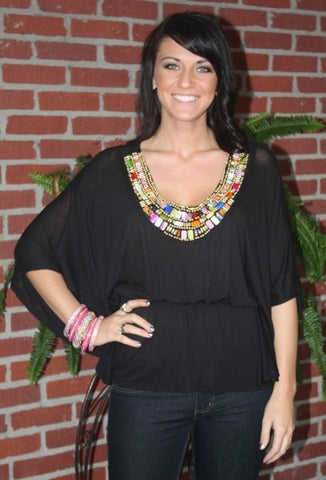 Black Top with Colorful Beadwork