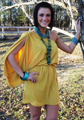 Sunshine Goddess Mustard One Shoulder Dress