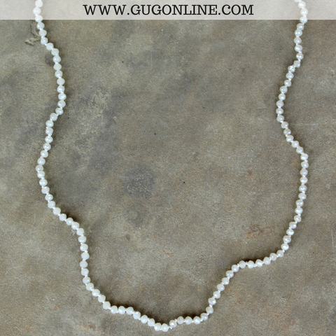 34 Inch Long Layering Crystal Strand Necklace in Ivory