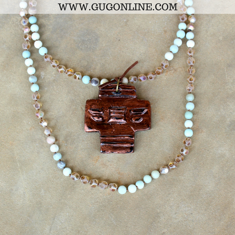 Aztec Copper Cross Pendant