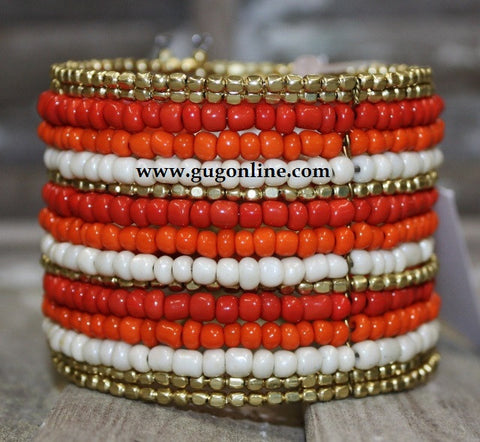 Gold and Orange Beaded Cuff