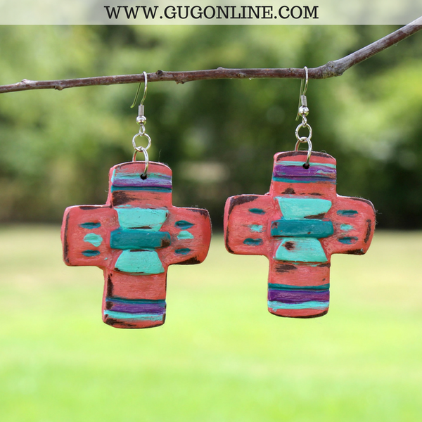 Aztec Print Jewelry | Aztec Print Earrings | Polymer Clay Southwest Earrings
