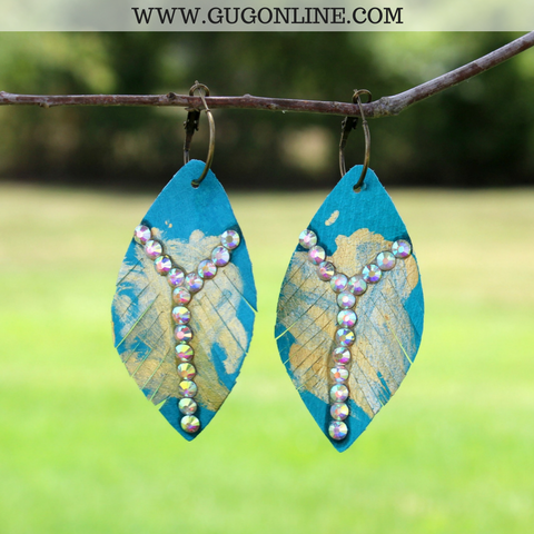 Leather Turquoise Feather Earrings with Gold Foil and AB Crystals