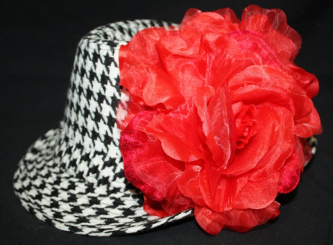 Blooming Flower Houndstooth Fedora