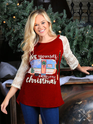 Have Yourself a Merry Little Christmas Dark Red Baseball Tee with Cream Lace Sleeves