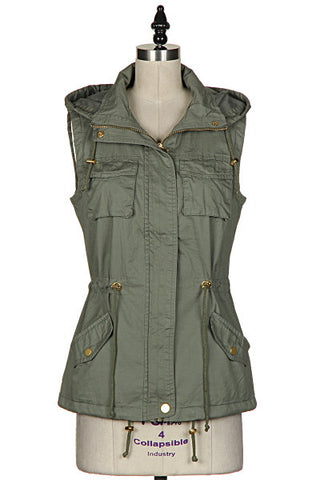 Never Go Back Olive Green Cargo Vest with Hood
