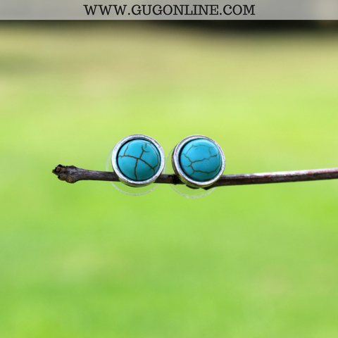 Burnished Silver Stud Earrings with Turquoise Inlay