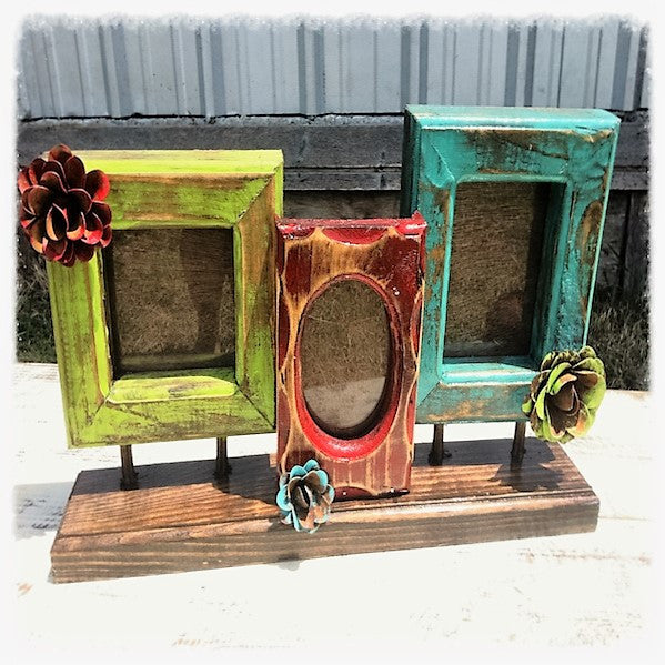 fiesta rustic handmade three frame three color collage
