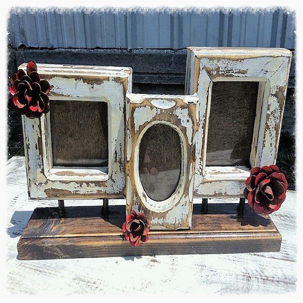 Fiesta Rustic Handmade Three Frame White Collage