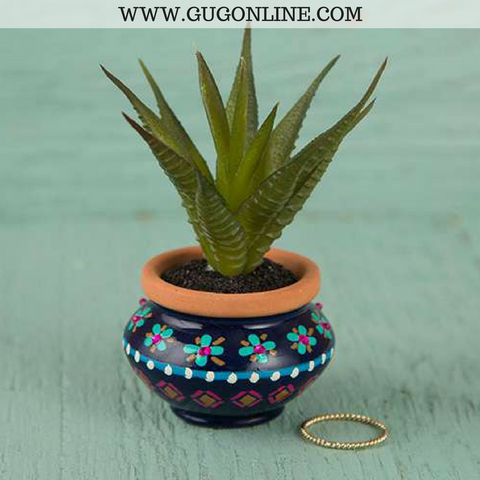 Faux Succulent with Navy and Pink Pot