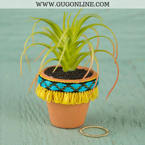 Faux Succulent with Yellow Fringe Pot
