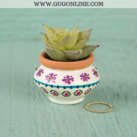 Faux Succulent with Ivory and Navy Pot