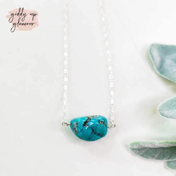 sterling silver chain necklace small kingman sleeping beauty turqoise stone heritage style turquoise and co