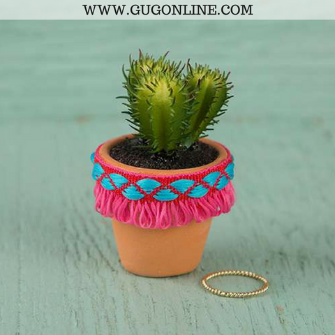 Faux Succulent with Pink Fringe Pot