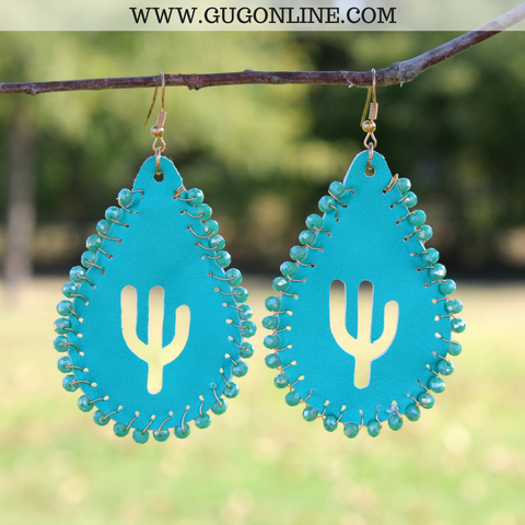 Beaded Leather Teardrop Earrings with Cactus Cutout in Turquoise