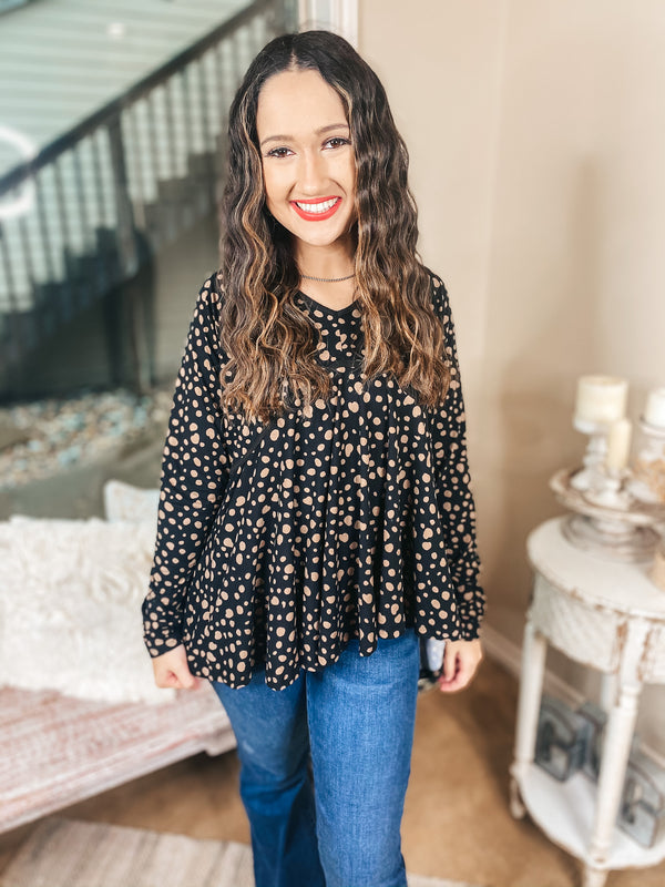 She's A Doll Long Sleeve Taupe Dotted Babydoll Top with V Neckline in Black