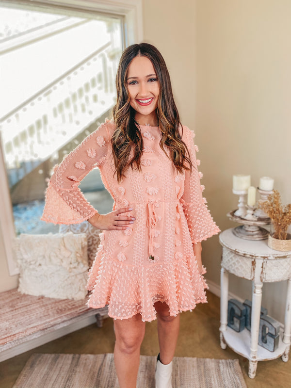 Champagne Brunch 3/4 Sleeve Waist Tie Pom Dress in Peach Pink