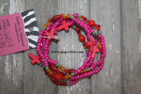 5 Strands of Pink Multi Bead Bracelet