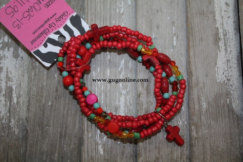 5 Strands of Red Multi Bead Bracelet
