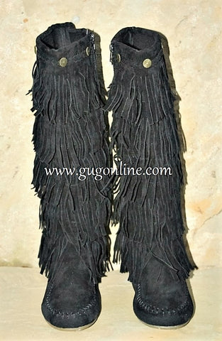 Five Layer Fringe Boots with Metal Embellishments and Braided Topline in Black