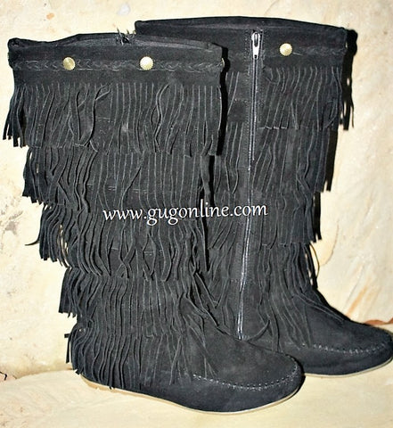 Kid's Five Layer Fringe Boots with Metal Embellishments and Braided Topline in Black