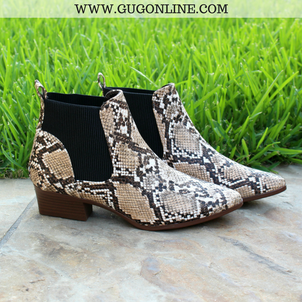 Short Ankle Booties Boots Snakeskin