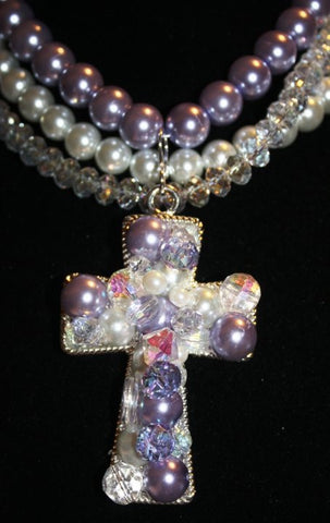 CNL - Hand Beaded Lavender and White Pearls With Crystals