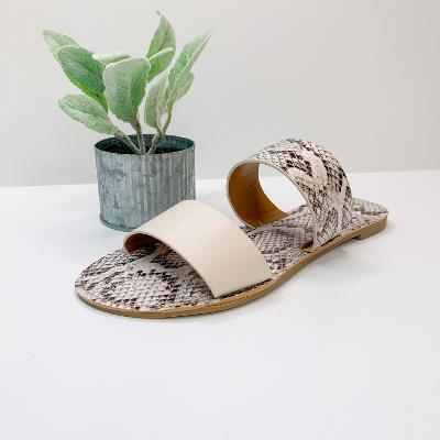 Safari Summer Two Strap Sandals in White Snake