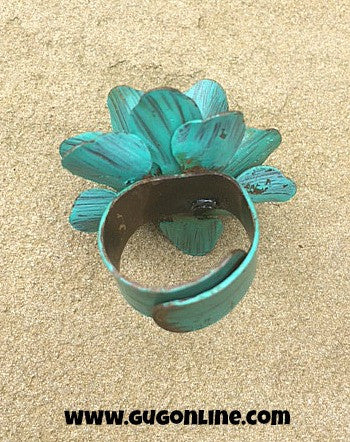 Turquoise Metal Flower Ring with Crystal Center
