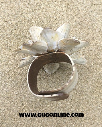 White Metal Flower Ring with Crystal Center