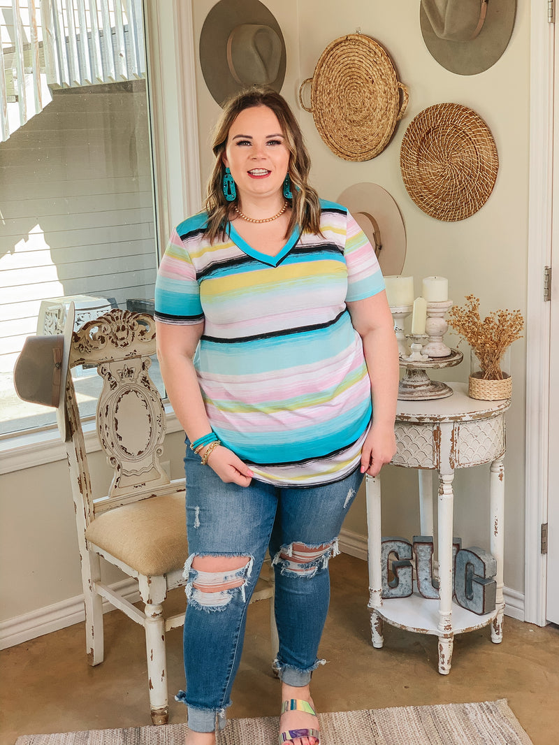 Keep Things Simple Striped V Neck Tee in Mint and Yellow Multi