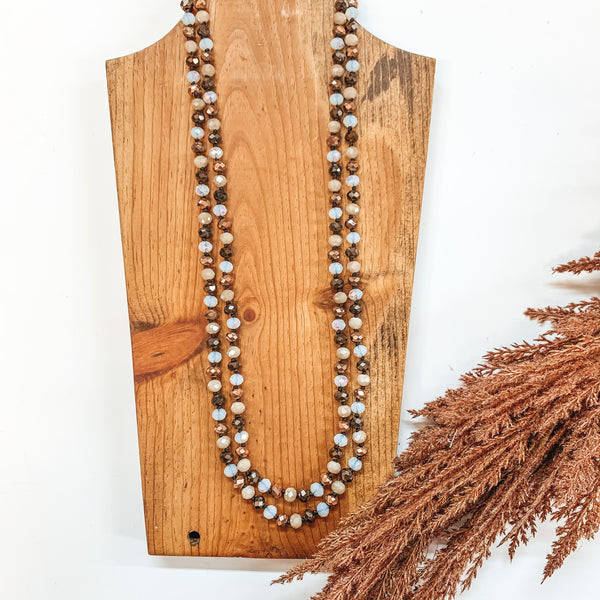 60 Inch Long 8mm Layering Crystal Strand Necklace in Chocolate, Taupe, Bronze and Clear White AB