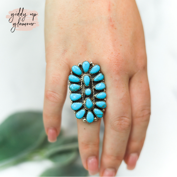 alvery smith genuine handmade navajo sterling silver kingman sleeping beauty turquoise cluster stone ring heritage style turquoise and co turquoise and teepees