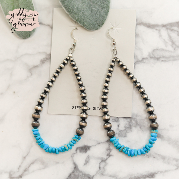 navajo pearl and turquoise chip teardrop earring hoops indian handmade handcrafted sterling silver authentic genuine navajo zuni nations heritage style turquoise and co