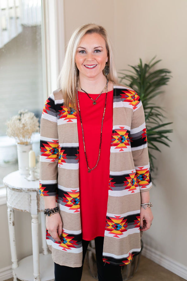 All Eyes On You Aztec Print Cardigan in Tan and Black red tribal print kimono