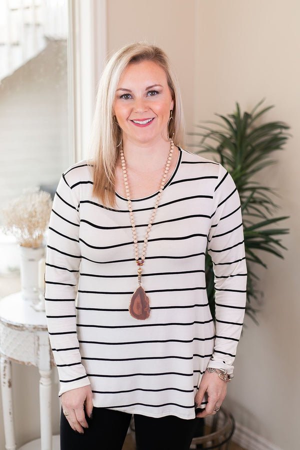 A New Day Long Sleeve Striped Top with Suede Elbow Patches in Black and White