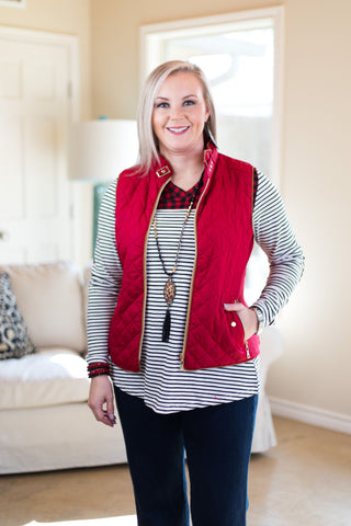 Nothing But Warmth Quilted Padded Vest in Red