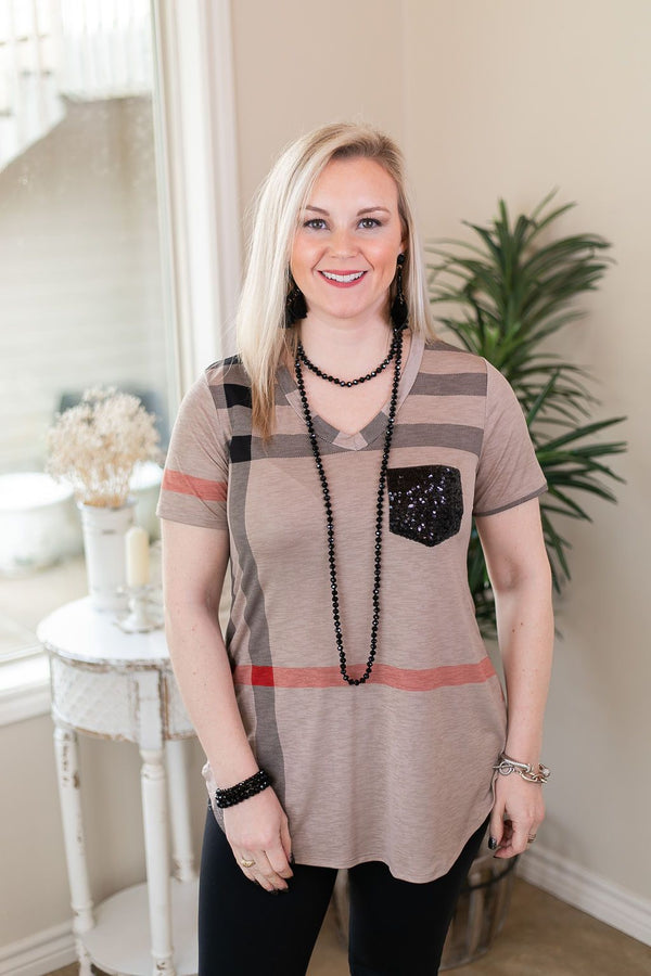 Take A Glisten Plaid Top with Sequin Pocket in Mocha winter plaid sequin red stripe