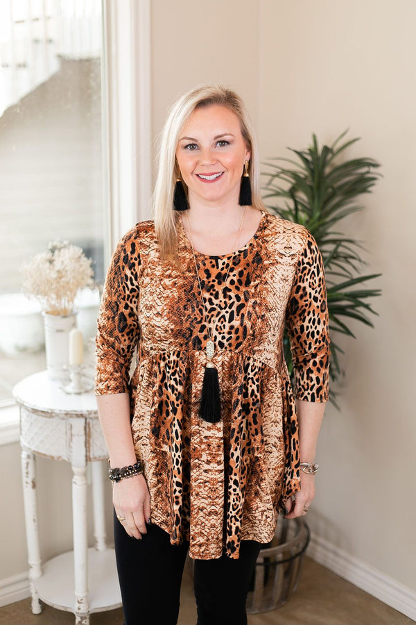 As You Wish Animal Print Baby Doll Top in Rust Red tan black leopard print and cheetah with snakeskin comfy shirt