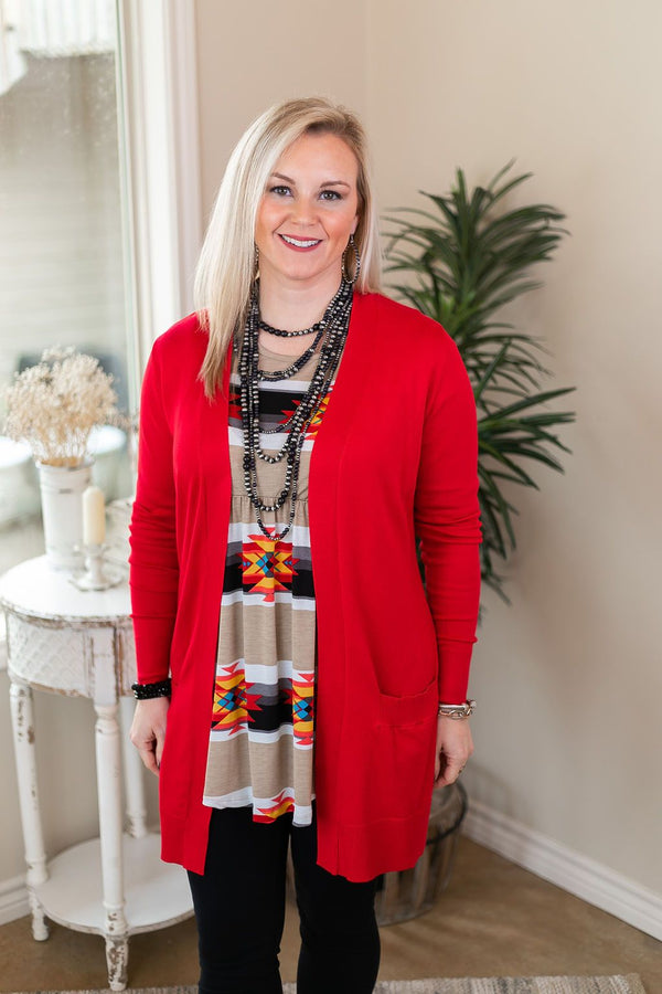 Beat The Chill Basic Knit Cardigan in Red sweater kimono pockets bright cozy winter fall