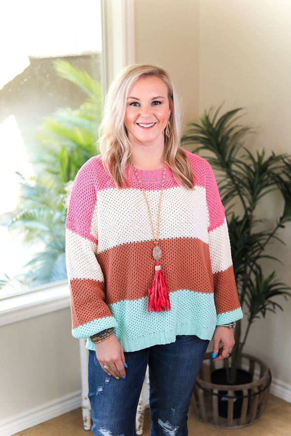 Speak To My Heart Color Block Knit Pullover Sweater in Pink, Rust Orange & Mint