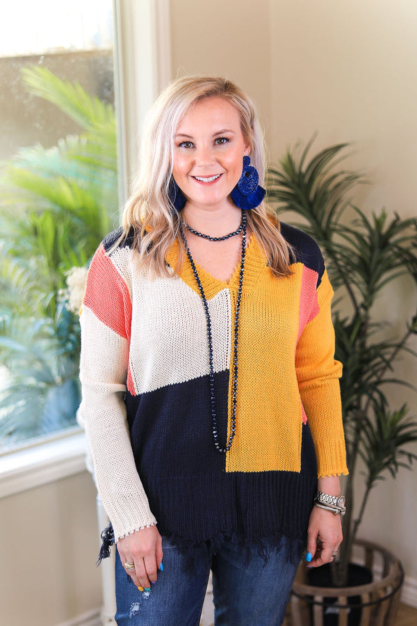 Adventure Begins Color Blocked Long Sleeve Pullover Sweater with Frayed Hem in Mustard Yellow, Coral & Navy Blue