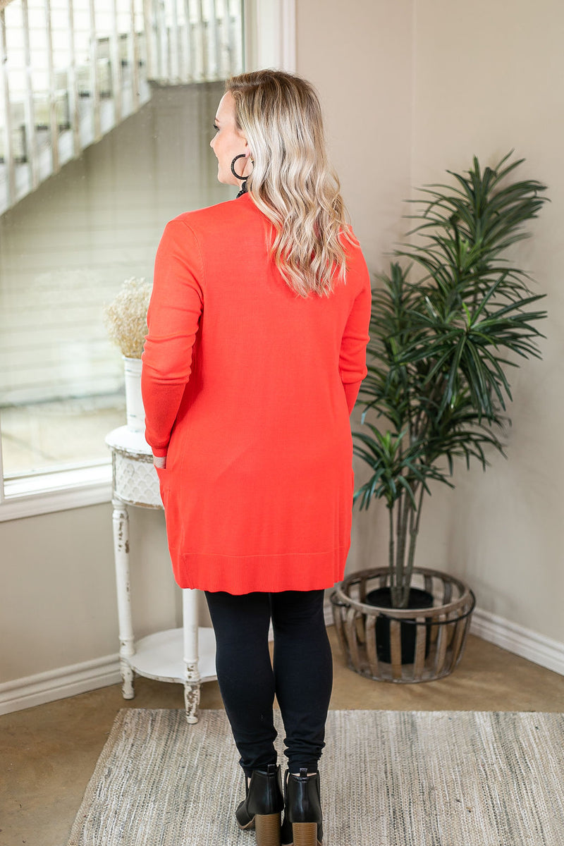 Beat The Chill Basic Knit Cardigan in Hot Coral