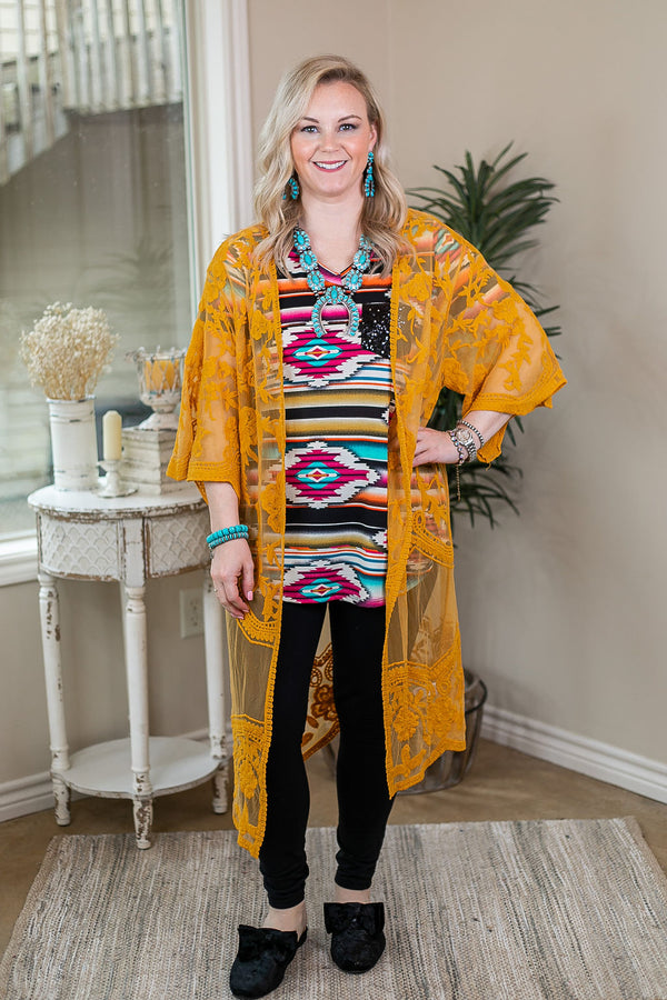 High Expectations Lace Kimono Duster in Mustard Yellow