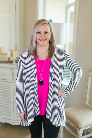 Chic Solution Striped Cardigan in Black