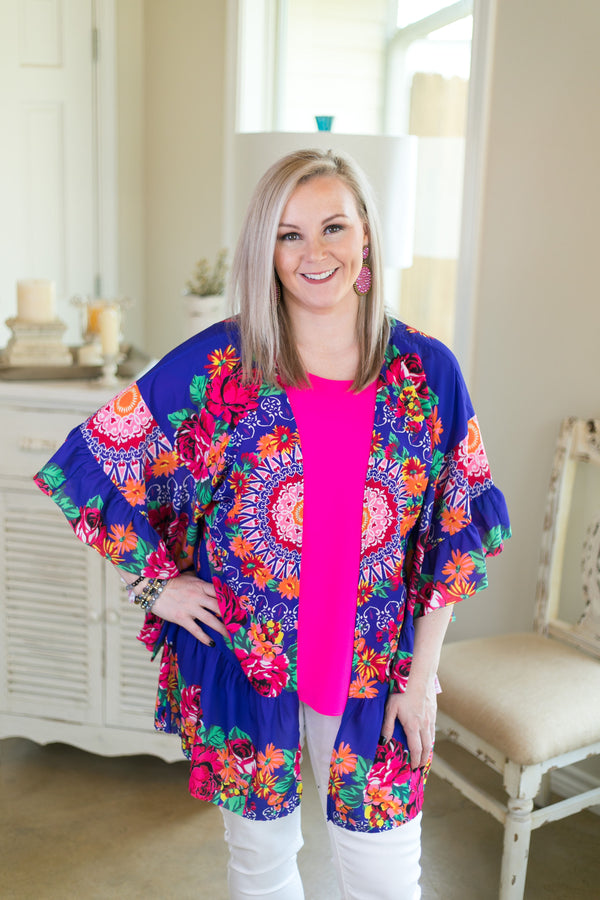 havana heartbeat Women's trendy plus size boutique clothing affordable floral print kimono duster sheer cover up with ruffle sleeves royal cobalt blue hot pink umgee